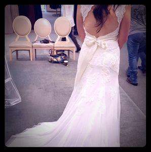 Off-White Lace Wedding Dress, Open Back